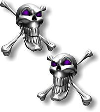 Vinyl sticker/decal Extra small 50mm long smile skull with purple eyes - pair