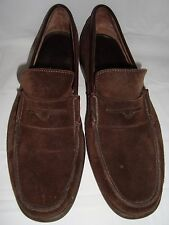 A.Testoni Brown Suede Classic Penny Loafers 10.5 Shoes Nubuck Testoni