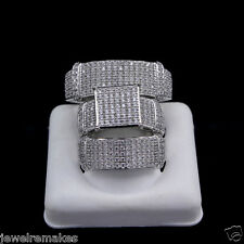 His Her Mens and Woman Diamonds Wedding Ring Bands Trio Bridal Set Silver 925$$$
