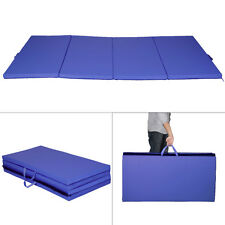 "New Blue 4'x8'x2"" Gymnastics Mat Thick Folding Panel Gym Fitness Exercise M"