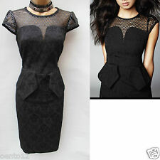 New Karen Millen Black Jacquard Brocade Peplum Pencil Ladies Dress Size UK 14