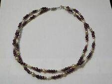 "Vintage 15"" Purple Beads, Cultured Pearls & Faux Pearls Double Strand Necklace"