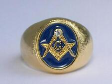 Vermeil 925 Sterling Silver Blue Enamel Clear Crystal Mason Masonic Men Ring 8