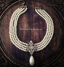 Stunning royal crystal & large pearl multi row vintage collar statement necklace