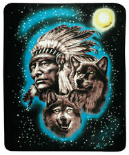 Native american Chief & Wolf Southwestern 50x60 Fleece Throw Blanket