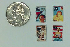 Dollhouse Miniature Vintage Magazines Books  1:12  tv