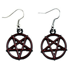 Inverted Pentagram Dangle Earrings Red Inlay Surgical Steel Gothic Punk Dangling