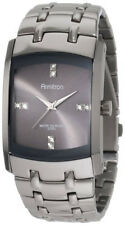 Armitron Mens Swarovski Dark Grey Dial Stainless Steel Band Watch 204507DSDS