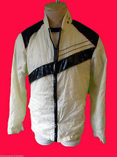 White cream 1980 michael windbreaker break dance asymetrical jackson parachute