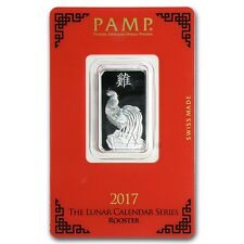 PAMP Suisse Lunar Year of the Rooster 2017 10 g gram .999 Silver Bar (in Assay)