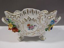 Dresden Handpainted Floral Footed Bowl with Applied Flowers