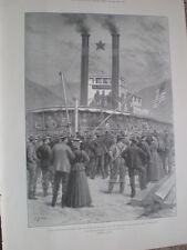First steamer with cargo of gold leaves Dawson City Canada Yukon 1898 old print