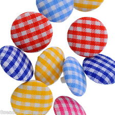 100PCs Gift Acrylic Buttons Sewing Fabric Covered Round Mixed 14mmDia.