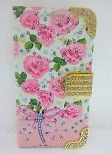 Floral leather magnetic flip wallet stand crystal bling diamond phone case cover