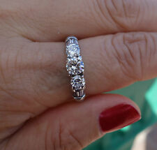1.46ct total 3 stone past present future Platinum ring Heavy 8.25