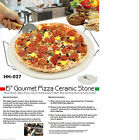 """Extra Large 38cm / 15"""" Pizza Baking Stone With Wire Serving Rack & Pizza Cutter"""