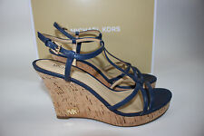 NIB MICHAEL KORS Size 9  Women's Navy Leather/Cork KAMI WEDGE Strap Sandal