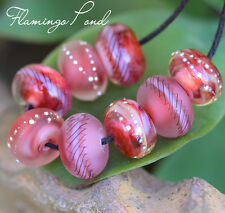 Flamingo Pond Rounds (8) Lampwork Beads Handmade with Fine Silver SRA A15