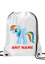 Personalised GIRL My Little Pony Rainbow Dash Gym BAG,Swimming PE, School Bag