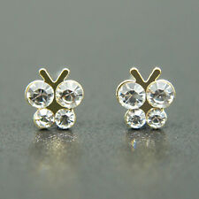 14k Gold plated Swarovski elements butterfly stud crystals earrings