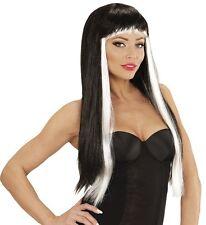 Ladies Black White Sexy Wig Long Gothic Hair Vamp Halloween Cruella Fancy Dress