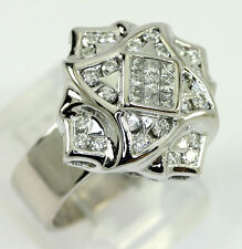 Diamond ring 14K white gold tiered floral FG color princess round brilliant .45C