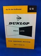 Dunlop Preisliste Fahrradreifen Grosshandel G14 1963 ***WIE NEU***