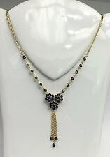 14k Solid Gold Cluster Dangle Pendant Necklace/Chain, Natural Sapphire 6.5TCW