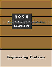 1954 Chevrolet Car Engineering Features Manual 54 Chevy 150 210 Bel Air