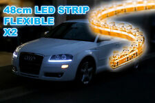 2x 48CM BRIGHT WHITE FLEXIBLE LED AUDI A5 STYLE CAR STRIP DAYTIME RUNNING LIGHT