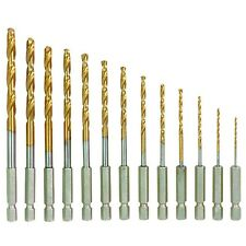 "13PC HSS HIGH SPEED STEEL TITANIUM COATED DRILL BIT SET 1/4"" HEX SHANK"