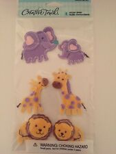 Baby Zoo Animals Purple Yellow Felt Creative Touch Stickers Scrapbooking Crafts