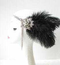 Black Silver Feather Headpiece Vintage 1920s Flapper Headband Great Gatsby 1745