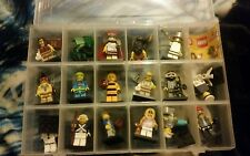 lego minifigure series 10 complete all 16 in storage box with fake mr gold