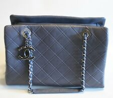 Chanel Gray Blue Calfskin Tote Quilted Leather Ruthenium Chain Strap Large Purse