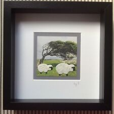 HANDMADE Landscape Tiny sheep PICTURE box framed 25x25cm WALL HANGING