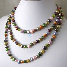 "52"" 6-8mm Multi Color Baroque Freshwater Pearl Necklace Strand Jewelry HD"