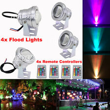 4-Pcs Waterproof 10W RGB Color Changing LED Flood Light Outdoor Garden Pond Lamp
