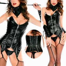 Black Wetlook Faux Leather Sexy Dominatrix Overbust Corset Bustier & Collar Set