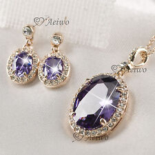 18K GF ROSE GOLD PURPLE SWAROVSKI CRYSTAL AMETHYST NECKLACE STUD EARRINGS SET