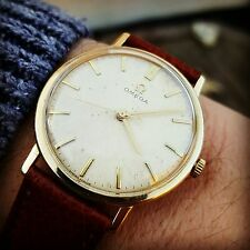 Super Vintage Omega Textured Dial 9ct Gold Dennison Case cal 601 c.1965 SERVICED
