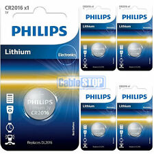 5 x Philips CR2016 3V Lithium Button Battery Coin Cell DL2016 for Car Key Fobs