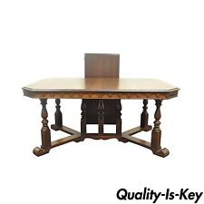 Antique Walnut Jacobean Renaissance Revival Gothic Styl Dining Room Table w Leaf