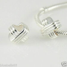 .925 STERLING SILVER KISS / Diaganol Cross CHARM BEAD For 3mm European Bracelet