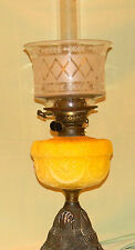 Antique Victorian Yellow Glass Oil Lamp and Etched Shade circa 1870