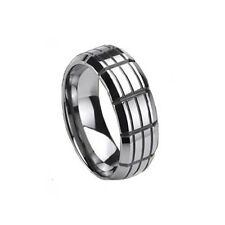 New Mens Solid Tungsten Carbide Grooved 8mm Polished Band Ring Gift Boxed