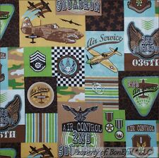 BonEful Fabric FQ Cotton Quilt Brown Blue Boy Lg Air*Plane Force Patch Military