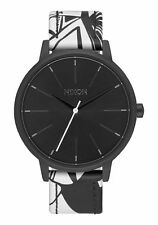 NWT Nixon Kensington Leather Watch Black Bleach 37mm Womens aa58