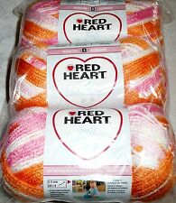 Red Heart SOFT BABY STEPS Yarn Lot of 3 - SORBET (Orange, Pink, White)