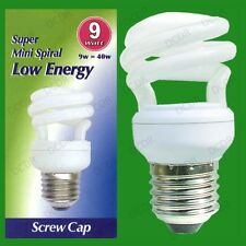3x 9W Low Energy Power Saving CFL Mini Spiral Light Bulbs; ES, E27 Screw Lamps